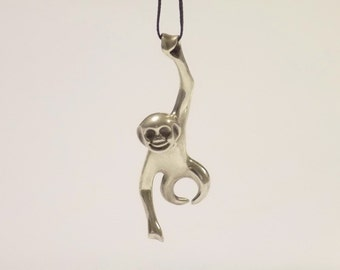 Fashion Men Women Monkey Ape 925 Sterling Silver Pendant Necklace Chain Jewelry Christmas Gift Free Shipping