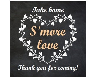INSTANT DOWNLOAD S'more love tags, peach smore tags, smore wedding tags, smore favor tags, instant download smore tags