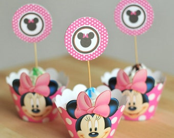 Minnie Mouse Cupcake Wrappers and Toppers - Set of 12