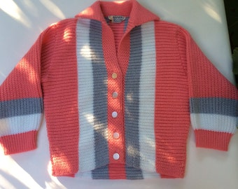 Vintage 40s Pink Grey and Ivory Banff Wool Sweater Handmade Knit