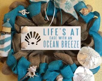 Beach wreath, beach decor, lighthouse wreath, lighthouse decor, Summer wreath, Summer decor, wall wreath, wall decor, door wreath,door decor