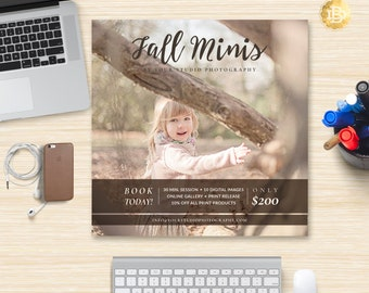 Fall Mini Session Template for Photographers, Mini Session Flyer Marketing Template, Mini Session Template - INSTANT DOWNLOAD - MS006