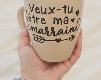 "Decal ""Veut-tu être ma marraine (ou avec parrain aussi)"" to paste on a mug, a glass or a mason jar"