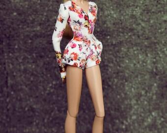 jumpsuit short rose for fashion royalty , Poppy Parker, Silkstone Barbie, fr2 , 12'' Fashion Doll