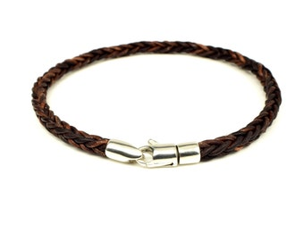 Braided Leather Bracelet with Sterling Silver Clasp, brown leather bracelet