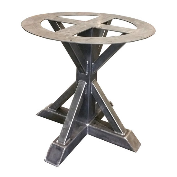 Metal pedestal trestle table legs round table single leg for Single leg dining table