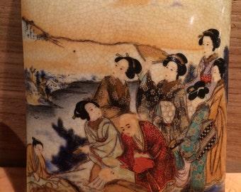 FREE SHIPPING//Antique Hand Painted Satsuma Kogo Meiji Period Porcelain Trinket Box//RARE Collectible//Splendors of Imperial Japan