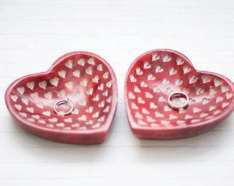Wedding Ring Pillow Ring Holder Marble Dish Wedding Ring Bearer Heart Red Wedding Decoration
