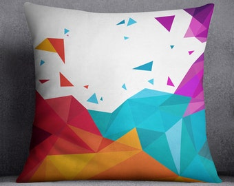 Colorful geometric pillow cover, Abstract pattern, Shapes, Design, Forms, Pillow decor, Trianagle, 20x20, 16x16, Home decor, Modern, Gift