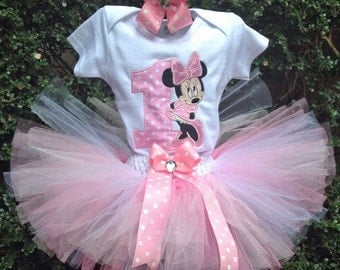 Pink Minnie Mouse 1st Birthday Outfit Onesie Tutu FREE Hair Bow Personalized