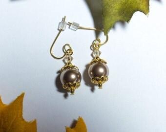 """Gold, """"pearl"""" dangle earrings"""