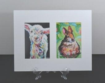 "Nursery Art Paintings - Matted Wall Art - Ready to Frame Nursery Decor Print - White 11x14"" Mat / two (2) 5x7"" Prints"