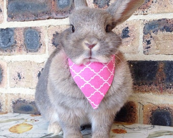 Pink lattice bandana / neckerchief, pet rabbit bandanas, pet rabbit accessories, pet rabbit clothing, pet cat bandana, pet cat collar