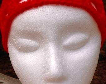 Crocheted Headband, Red Headband, Handmade Headband, Hair Accessory