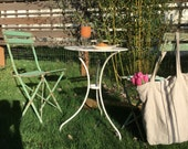 Set of 2 vintage French metal bistro  chairs  in green