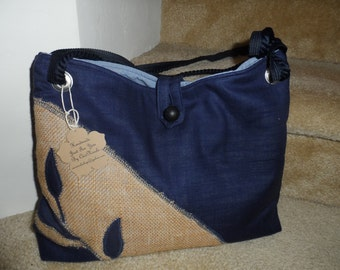 Burlap Hand Bag/Blue and Burlap Bag/Embroidered Bag/Purse/Blue Purse