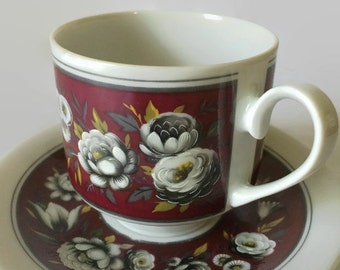 Vintage Winterling Bavaria Demitasse Cup and Saucer, Dark Red with Large White Flowers