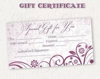 Gift Certificate Printable,Gift Card,Printable Gift Certificate,Gift Certificate,Digital Gift Certificate,Floral Gift Certificate,Purple