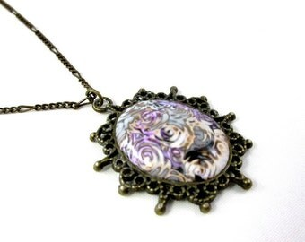 purple polymer clay short necklace