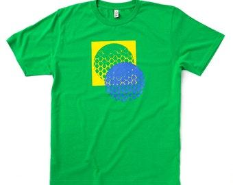 SMALL: Green 'I am not an engineer No.1' Handprinted organic cotton t-shirt
