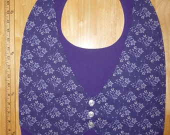 Adult bib / Clothes protector / Special needs bib Model Vest Purple Flowers