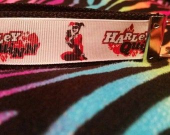 Harley Quinn Wristlet key fob with black backing.