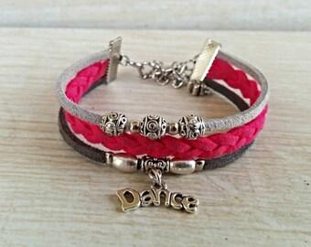 Hot Pink & Gray Silver Dance Charm Bracelet// Sports Jewelry for Girls// Multi Strand Friendship Bracelet// Dance Gift // Choose ONE Charm