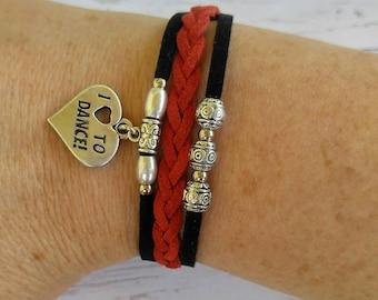 Custom Girl's Sports Bracelet// Dance Bracelet// Black and Red// Dance Mom// Choose Sports Team or Favorite Color Cords & Sports Charm