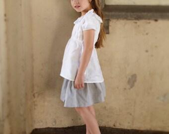 Stone grey linen skirt