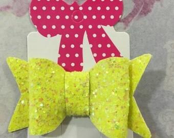 Yellow glitter hair bow clip