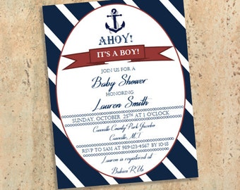Nautical Baby Shower Invitations - Gender Neutral - Boy or Girl - Navy and White - Ahoy It's a Boy!