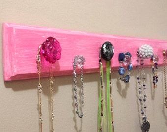 "Jewelry Rack ""Wood""  -  Pink ""Weathered Look"" w/Decorative Knobs"