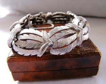 Vintage 1960s silver panel bracelet with safety chain