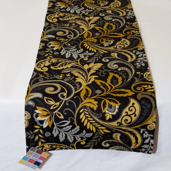 Linen Table Runner with Gold and Gray print on Black Linen