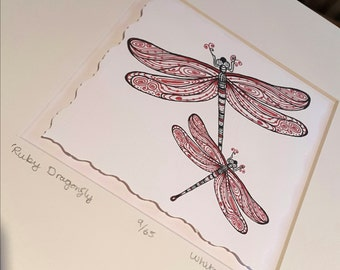 Ruby Dragonfly illustration - Limited Edition