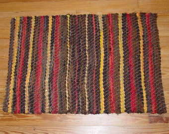 Striped woven rag rug