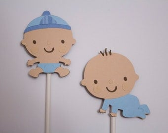 Baby Boy Cupcake Toppers, Baby Boy Shower Cupcake Toppers, Baby Shower Cupcake Toppers, Set of 12 Cupcake Toppers