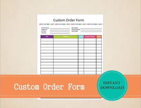 Custom Order Form Business Planner Business Organizer