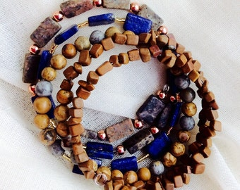 Assorted Tan Wood, Yellow Turquiose, and Copper Beaded Wrap Bracelet