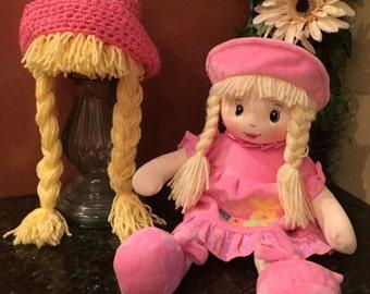MOLLY DOLLY HAT, Crochet hat, Bucket hat, Braided hat, Wig Hat, Doll