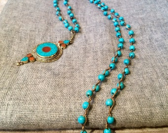 Turquoise Beaded Long Necklace with Pandent