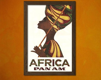 Printed on textured bamboo Art paper - Africa Pan Am Airways PosterVintage Travel Poster African Poster Pan Am Poster African Travel   bp