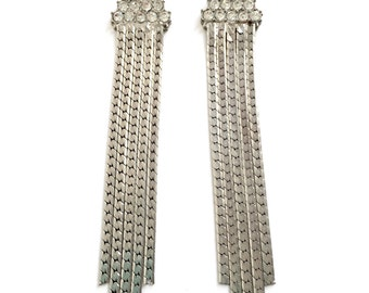 Vintage Rhinestone and Silver Flat Chain Earrings From The 1970s