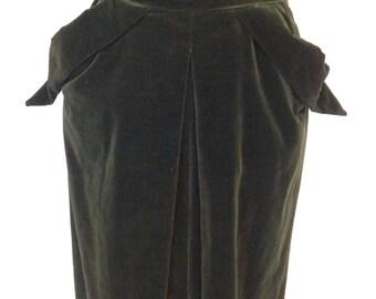 Late 1940's Long Hunter Green Velvet Skirt with Front Pleat- 1940's Skirt -