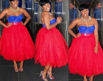 RED Tulle Skirt PLUS 3X 4X Large Adult Women Tutu