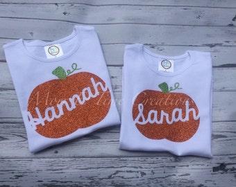 Girls personalized glitter pumpkin tee; girls fall shirt, baby pumpkin shirt