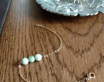 Handmade Natural Jade & Gold Chain Bracelet. *Reduced price*