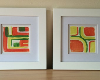 Pair of Colorful Abstracts, Pink and Green, Acrylic Paper, Framed Painting, Small Painting, Geometric Painting, Pink, Green, Coral, Abstract
