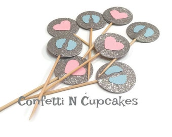 Gender Reveal Cupcake Toppers, boy girl baby shower, pink and blue, party decor, baby feet, pink hearts, food, picks, party picks, baby boy