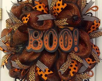 Halloween Wreath, Mesh Halloween Wreath, Classy Halloween Decor, Orange and Black Halloween Wreath, Halloween Door Hanger, Halloween Decor